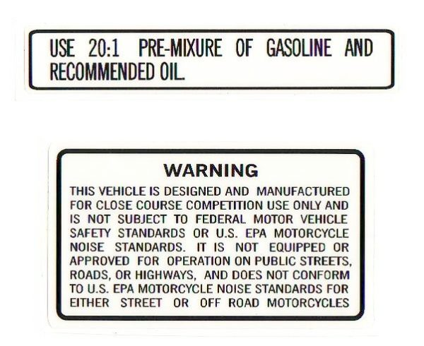 Suzuki RM PE 20:1 Ratio/Warning Decal Set