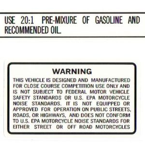 Suzuki 20:1 Ratio/Warning Decal Set